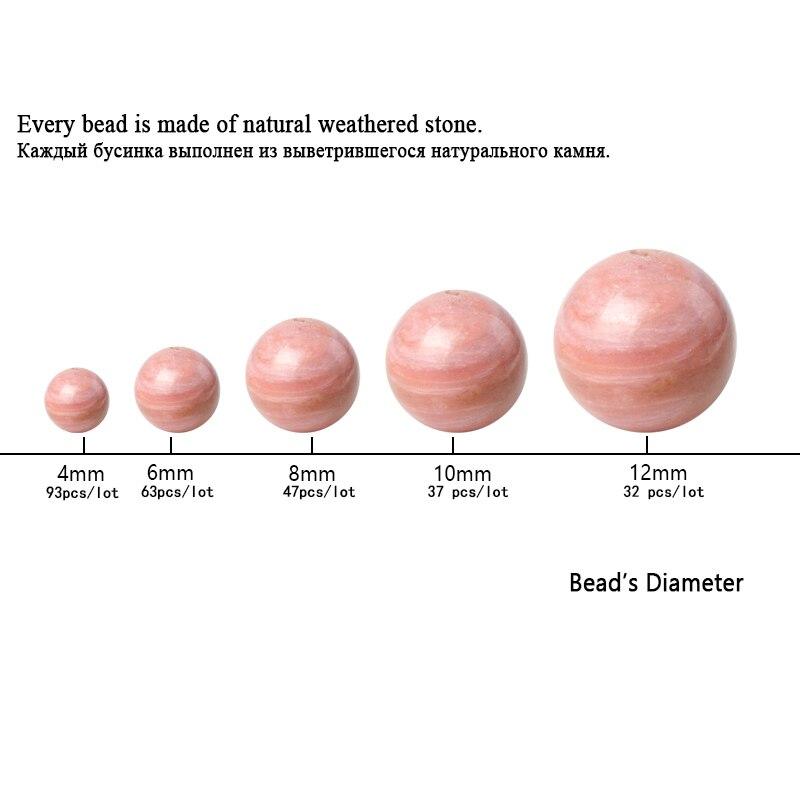 TopGoods Natural Gemstone Beads Pink Rhodonite Stone Loose Rosary - Նուրբ զարդեր - Լուսանկար 4