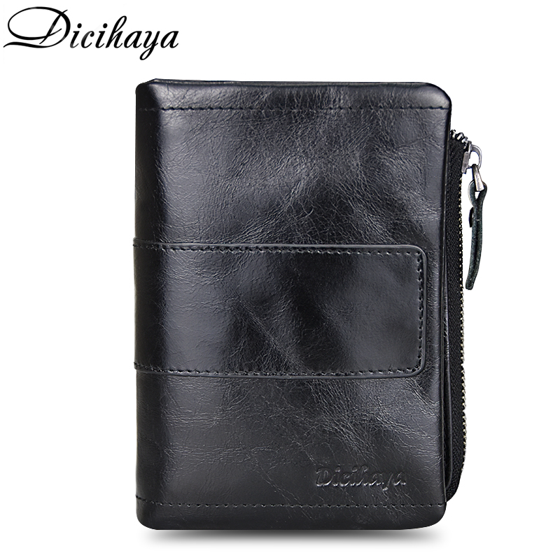 DICIHAYA Genuine Leather Male Wallets Vintage Black Wallet Zip Coin Pocket Card Holder Purse Cowhide Leather Wallet For Mens dalfr genuine leather mens wallets card holder male short wallet 6 inch cowhide vintage style coin purse small wallet
