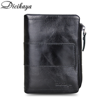 4fd206d46028b DICIHAYA Genuine Leather Male Wallets Vintage Black Wallet Zip Coin Pocket  Card Holder Purse Cowhide Leather