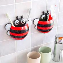 Cute Ladybug Bee Sucker Toothbrush Holder for Children Kids Wall Mount Strong Suction Cup Bathroom Organizer
