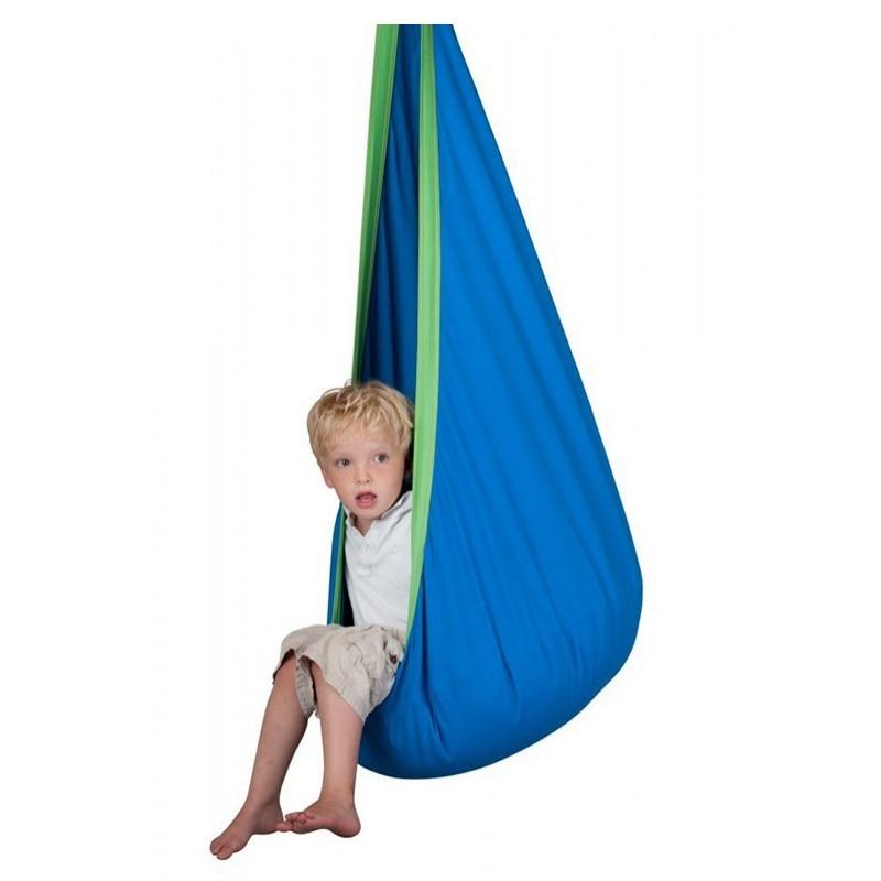 Kid Assento Hammock cocoon Pod Bebê Balanço Criança Pendurada Cadeira de Tecido de Algodão + Almofada Inflável DO PVC Móveis de Jardim Ao Ar Livre do Hammock