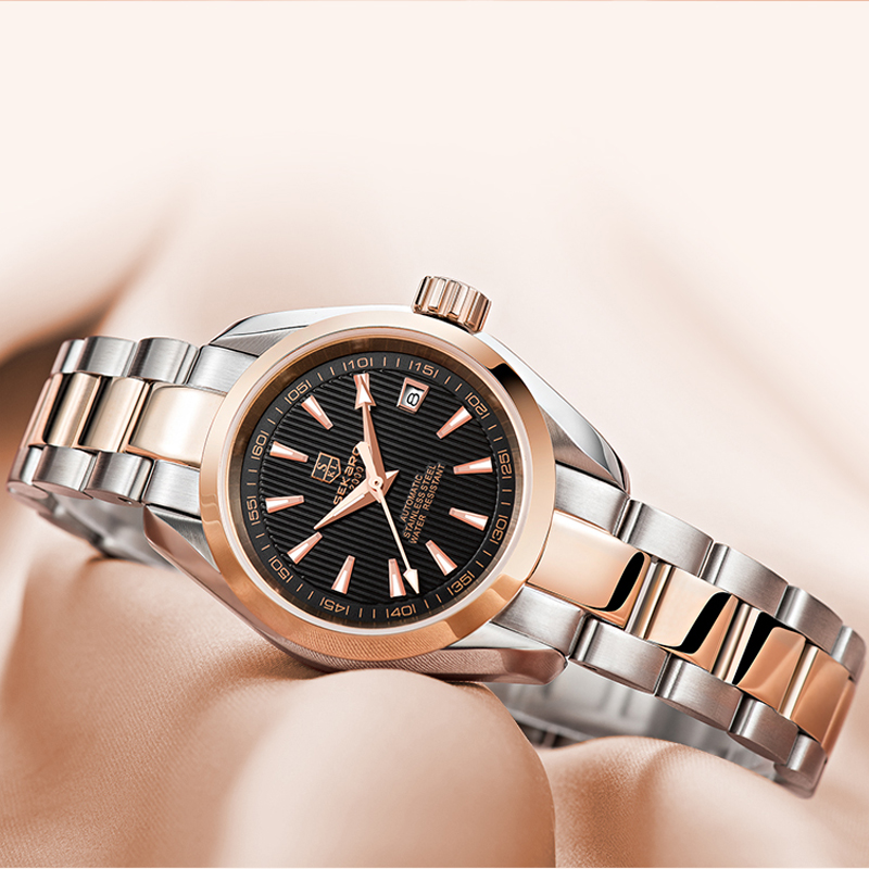 2019 Luxury Automatic Mechanical Women Watches Dress Rose Gold Clock Stainless Steel Date Business Lady Watch