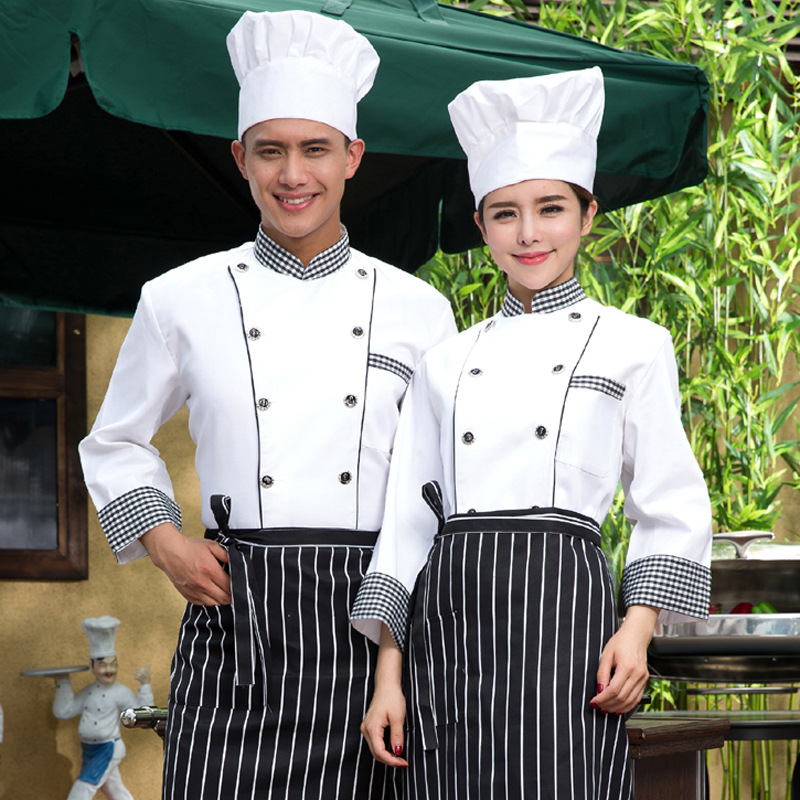 New Arrival Chef's Uniform Long Sleeve Hotel Cooker's Outfit Hotel Chefs Uniform The Kitchen Chef Costumes Plus Size B-5576