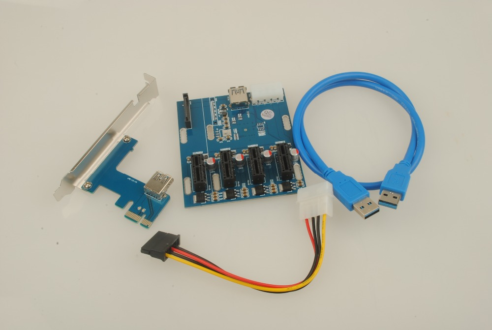 купить NEW aad in card PCIe 1 to 4 PCI express 1X slots Riser Card Mini ITX to external 4 PCI-e slot adapter PCIe Port Multiplier Card по цене 1381.23 рублей