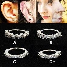 1 PC Runde Zirkon Blume Flügel Gepunktete Edelstein Ring Biegsamen Nahtlose Ring Chirurgische Stahl Ohr Trague Knorpel Ohrring Nase Ring 18g
