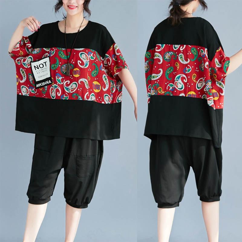 女性の Tシャツ Tシャツトップ女性半袖ラウンド襟夏ゆるいファッションコットンリネン Tシャツ H9