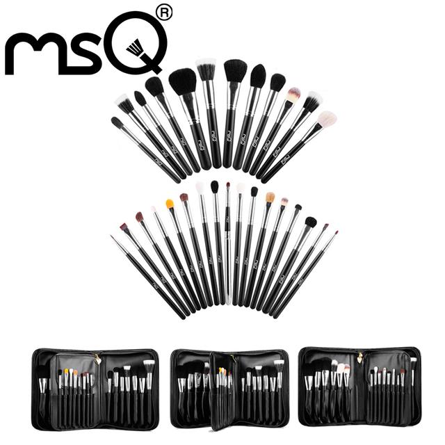 MSQ Profesional 29 unids Pinceles de Maquillaje de Pelo de Cabra Cepillo Cosméticos Kit de Herramientas Con una Bolsa de Cuero Negro