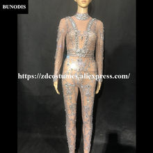 ZD227 Women Sexy Jumpsuit Net Yarn Transparen Silver Glass Sparkling Crystals White Pearls Nightclub Party Stage Wear Costumes(China)