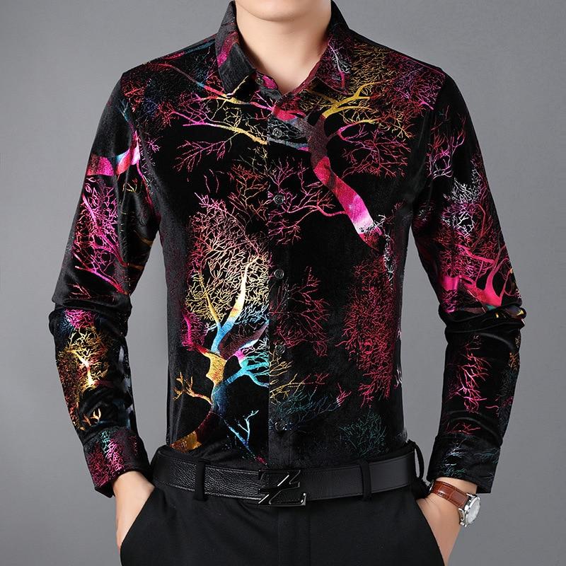Creative bright color exquisite bronzing printing long sleeve shirt Autumn 2018 high-quality gold velvet luxury shirt men M-XXXL