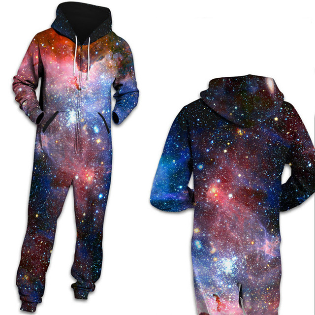 Women Space Galaxy Star Printed Loungewear Pajamas Unisex Loose Hooded Zipper Open Sleepwear Onesies for Adult Thick   Jumpsuits