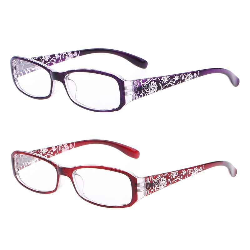 Fashion Women Spring Hinge Flower Print Resin Reading Glasses Lady Eyewear Protector Glasses Presbyopic +1.0~+4.0