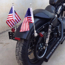 2pcs Motorcycle 6 x 9 American Flag + Flagpole Mount Kit Durable Adjustable For Harley Davidson Honda Goldwing CB VTX CBR Yamaha