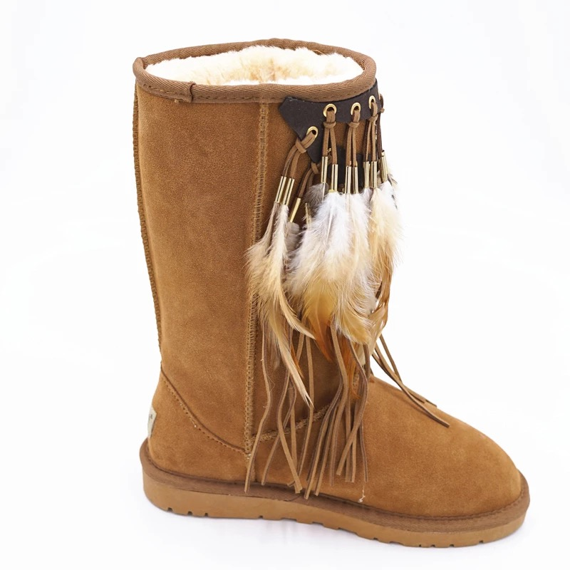 Winter boots shoes woman Genuine Leather sheepskin Fur one snow boots Tassels warm Casual Ankle boots botas mujer 2016 rhinestone sheepskin women snow boots with fur flat platform ankle winter boots ladies australia boots bottine femme botas