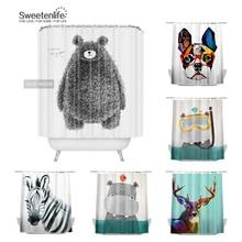 Waterproof Curtains Animal American-Style European And Black Sweetenlife Bear-Pattern