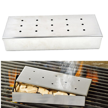 Stainless Steel Barbeque Grill Smoker Box BBQ tools Add different flavors of sawdust peel and smoked food of different tastes