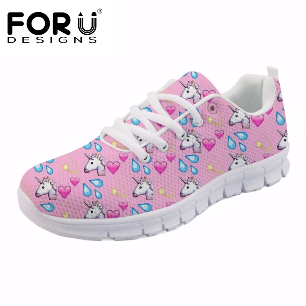 FORUDESIGNS Pink Cute Cartoon Horse Printed Women Casual Sneakers Female Breathable Lace-up Shoes Flats Fashion Girls Leisure forudesigns women casual sneaker cartoon cute nurse printed flats fashion women s summer comfortable breathable girls flat shoes
