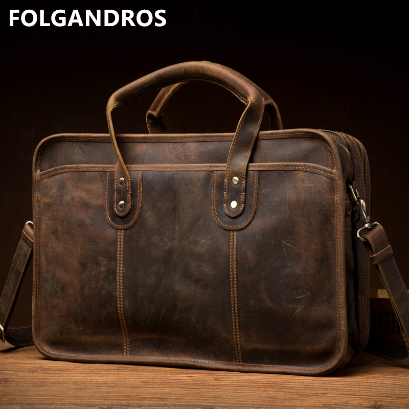 Men's Genuine Leather Briefcases Male Handmade Vintage Large Capacity Business Cowhide Laptop Computer Document Briefcase Bolsa