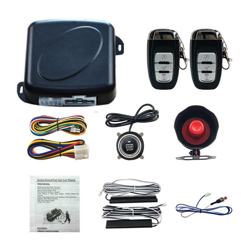 5 pièces beaucoup alarme de voiture Passive sans clé un bouton de démarrage arrêt système de contrôle à distance bouton-poussoir de verrouillage Central automatique avec klaxon d'alarme - 6