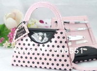 Free Shipping Pink Polka Dot Purse Manicure Set Favor Wedding Bridal Shower Favors And Gifts Made