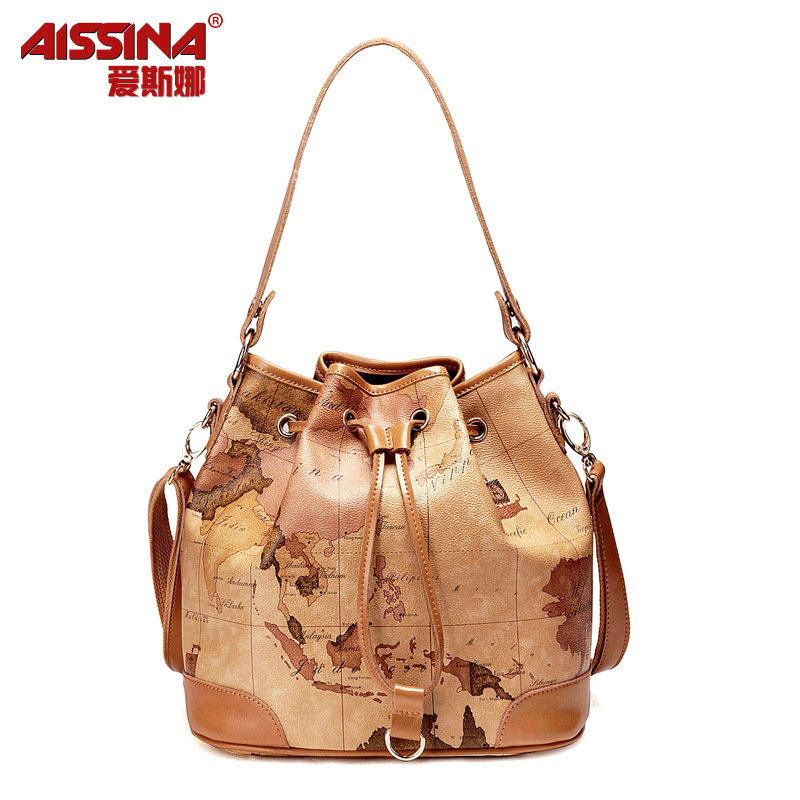 2012 autumn women's bags fashion map bag drawstring bucket bag messenger bag