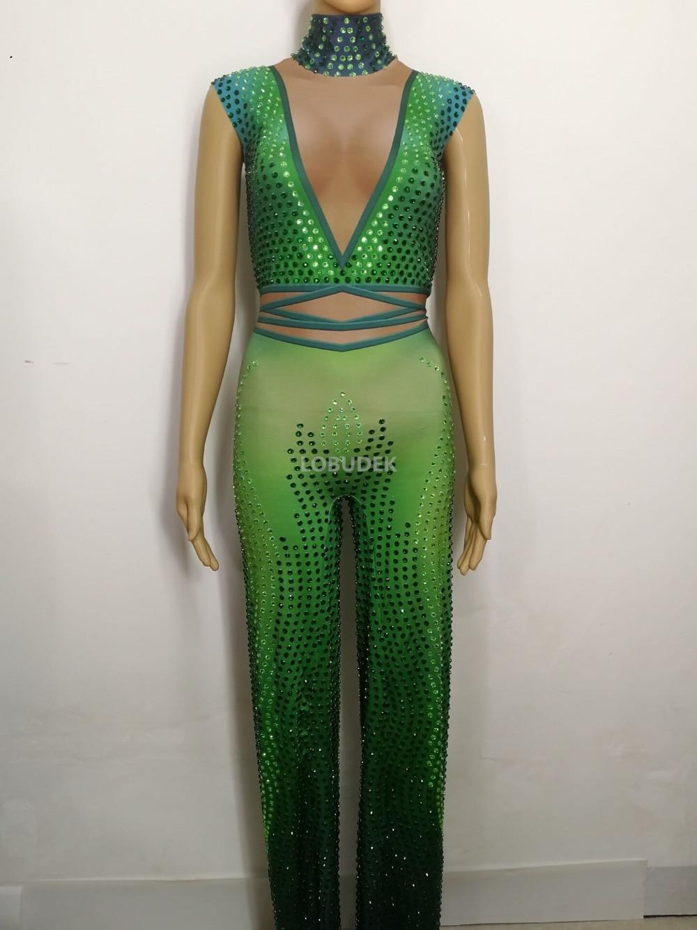 Dj Scintillant Tenue Femmes Célébration Discothèque Pièce Sexy Costume Body Show Parti Strass D'une Seule Salopette Bar Vert Extensible rvXxrqC