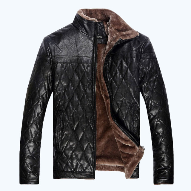 2017 winter men's PU leather jacket fur collar leather jacket  men's thicking leather jacket plus size XL-5XL,175
