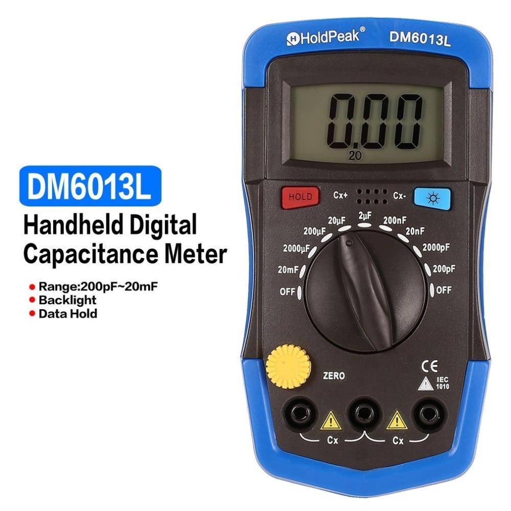 DM6013L Portable Handheld Digital Capacitance Capacitor Meter 1999 Counts Tester 200pF~20mF Data Hold Backlight Multimeters     - title=