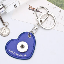 Sales DIY Snap Keychains Personalized Snaps Key Ring Hang Accessories Charms Heart Snap Pendant Fit 18&20MM Snaps KC10(China)