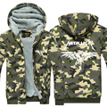 Mens Fashion Hoodie Camouflage Metallica Thicken Fleece Heavy Metal Rock Band Jacket Coat US Plus Size