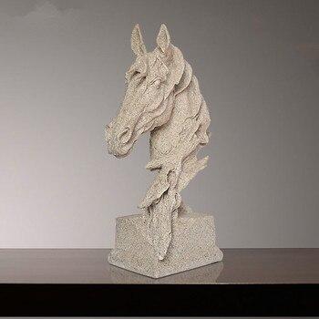 41cm European Sandstone Horse Head Bust Horse Statue Art Crafts Resin Statues Sculptures Business Office Home Decor R2023