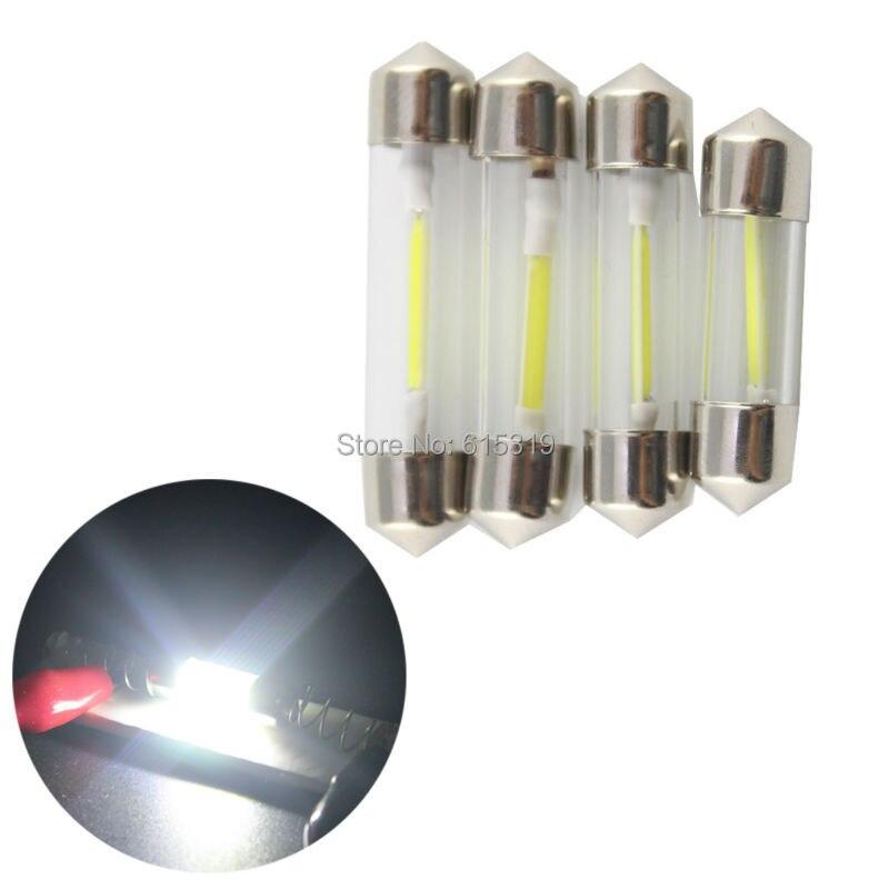 500Pcs lot White 8000K C5W Festoon COB LED Bulbs Glass Lens 12V for Car License Plate