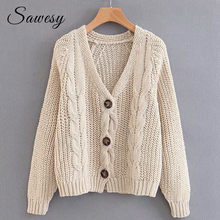 Coarse Knitted Sweater Cardigan Women Autumn Winter 2018 New Fashion Button V Neck Female Cardigans Long Sleeve Vintage Sweaters(China)