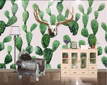 Купить с кэшбэком Beibehang 3D painting hand painted Nordic style deer head cactus background wall decoration photo wallpaper papel de parede