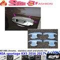 Envío gratis cubierta del coche de protección detector adornos marco de la lámpara ABS cromado palillos Tazón Externa 4 unids KX5 Kia Sportage 2016 2017