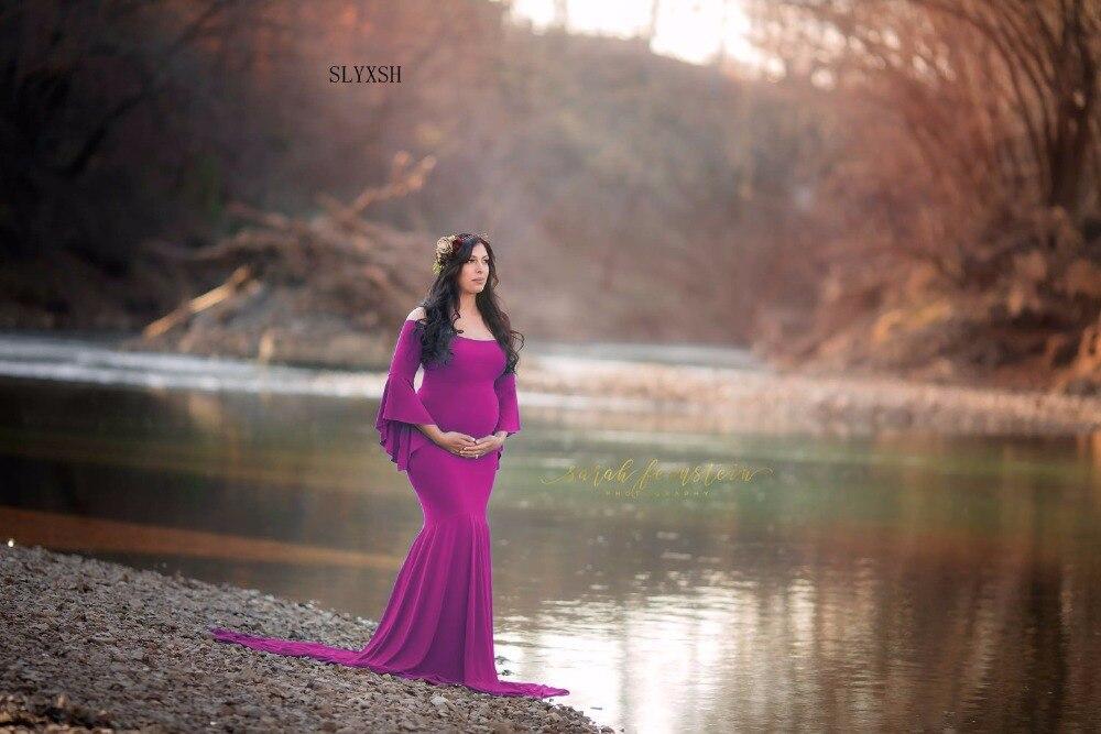 41a7a49fdc39 SLYXSH mujer sirena falda maternidad fotografía Props vestido embarazo  encaje vestidos para embarazada sesión fotográfica ropa
