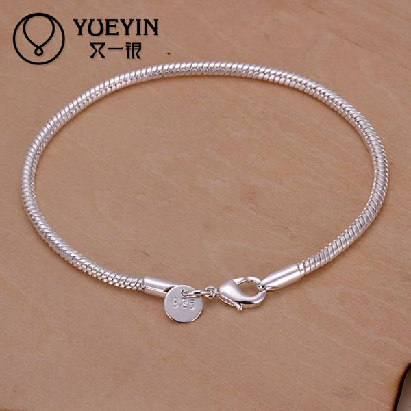 Latest Women Silver Bracelet Simple Design Snake Chain Silver