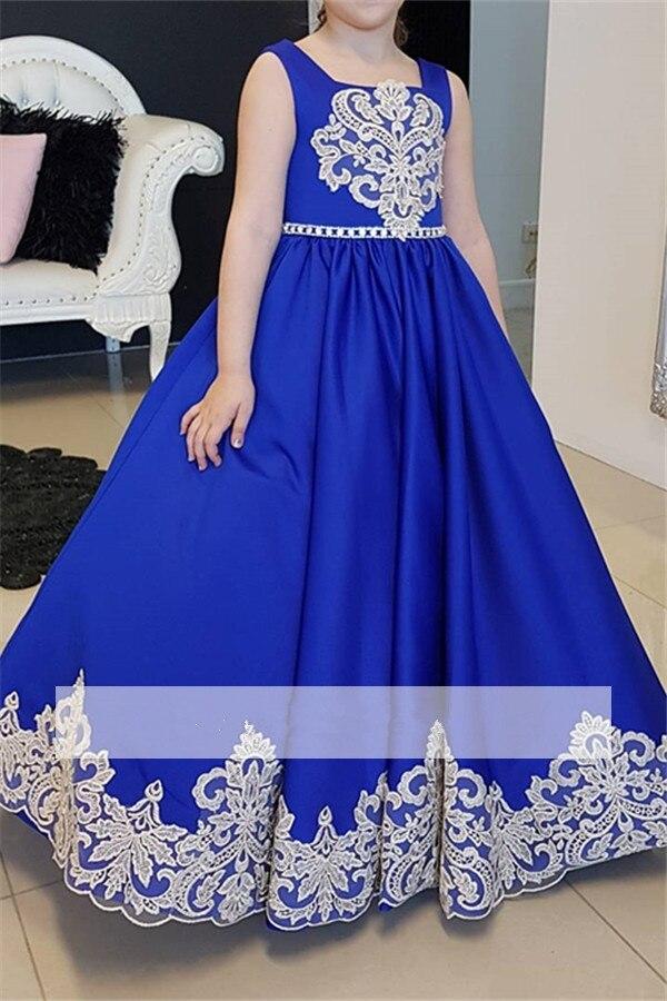 25e0f8fbc9c Royal Blue 2019 Flower Girl Dresses For Weddings Ball Gown Square Satin Lace  Long First Communion Dresses For Little Girls