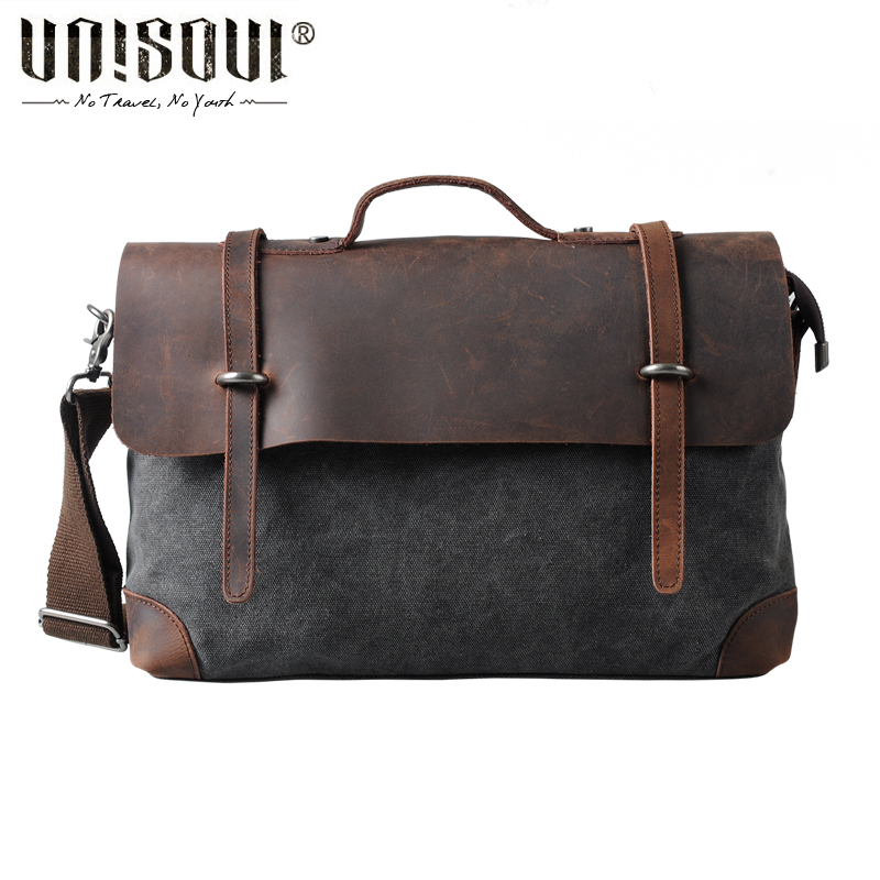 ФОТО UNISOUL Vintage Men Messenger Bags 2016 New male Satchel Canvas totes Fashion Crossbody bag Leather Patchwork Handbags