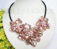 Barok bloom pembe İnci seashell gerdanlık deri kolye j7462 Fabrika Toptan fiyat Kadınlar Giftword Takı