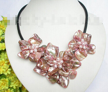Baroque bloom pink pearl seashell choker leather necklace j7462 Factory Wholesale price Women Giftword Jewelry