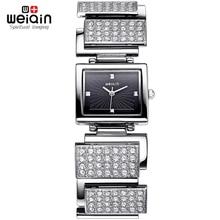 WEIQIN Mujeres de la Marca Completa Rhinstone Relojes de Diamantes de Cristal Rhinestone Señoras Vestido Reloj de Pulsera de Cuarzo de Moda reloj de mujer lady2703