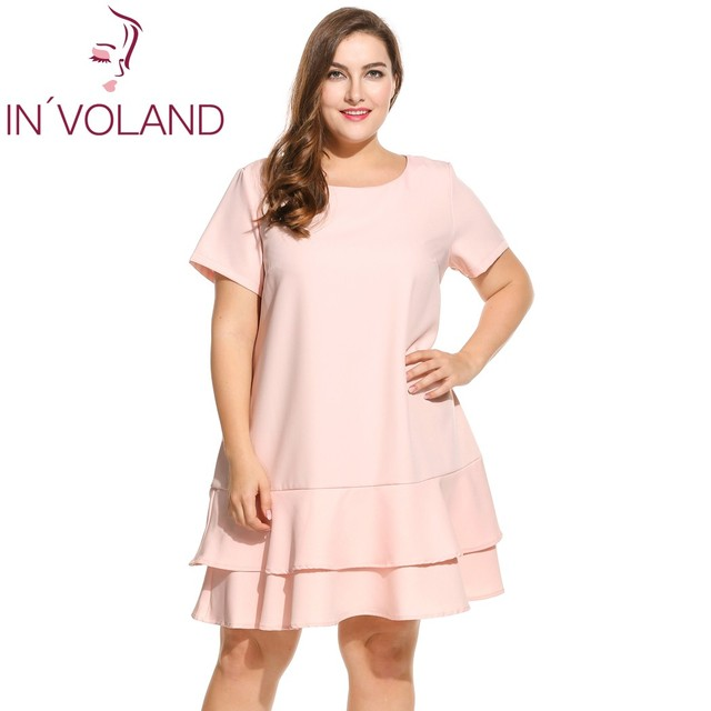 IN VOLAND Brand Plus Size Dress For Women Short Sleeve Solid Double Layer  Ruffles Hem Party Dresses Lady Big Size Vestidos 4XL e11a60ae62ca