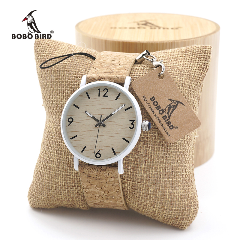 BOBO BIRD Mens Womens Bamboo Wooden Watch Dial Stainless Steel Case With Cork Leather BandThickness custom logo in gift box red wooden paint watch box pefect to storage watch case gift for watch lacquer boxes may custom logo factory supply