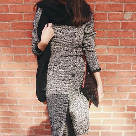 Autumn and winter elegant V neck gray woolen long coat jacket Women Trench slim outwear