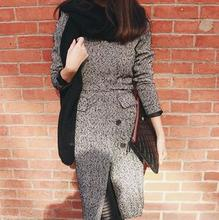 Autumn and winter elegant V-neck gray woolen long coat jacket Women Trench slim outwear
