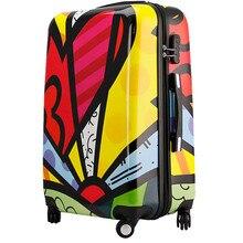 YISHIDUN men Geometric patterns suitcase bags women universal wheels travel trolley man rolling luggage bag valiz