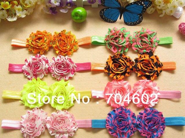 Wholesale lovely heart printed shabby chiffon Flower elastic Headbands baby hair band 30Pcs/lot FDA03