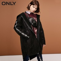 ONLY womens' winter new letter stitching cotton coat jacket Fabric stitching Cashmere lining|118322518