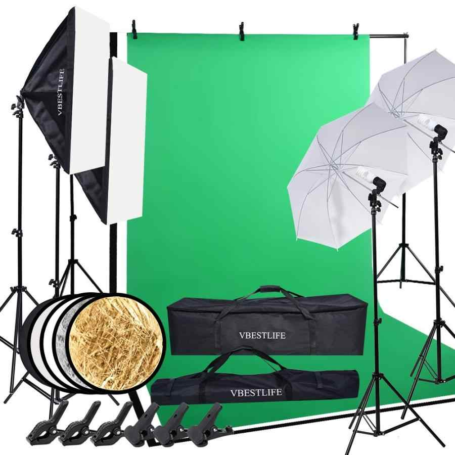 Комплект фотостудии = фотофоны 1,6*3 м + подставка для фона 2*3 м + софтбокс + лампочка + держатель лампы + 83 см зонт для фотосъемки и т. д.