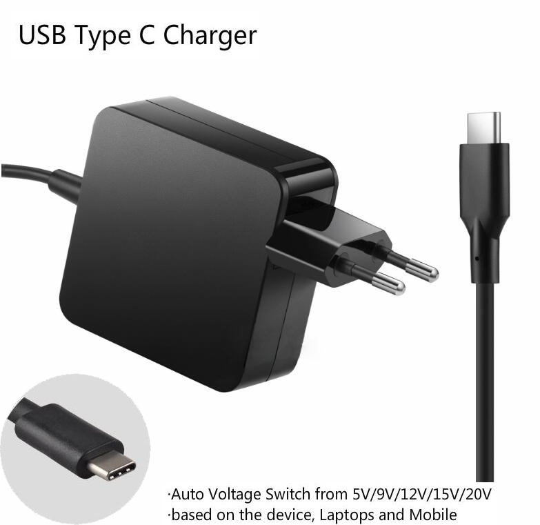 Universal 5-20V 65W USB Type C Laptop Mobile Phone Power Adapter Charger for Lenovo Asus HP Dell Xiaomi Huawei Google 4 Plug 5 20v 65w usb c laptop power adapter wall mount charger for lenovo thinkpad x1 tablet x270 type c adapter for hp spectre 13